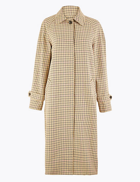 Pure Cotton Check Print Car Coat