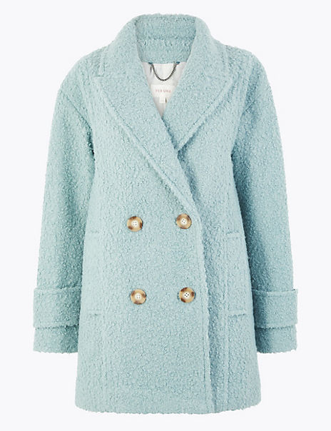 Boucle Double Breasted Peacoat