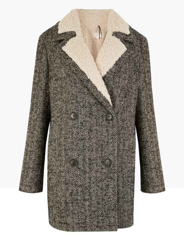 M/&S LADIES DOUBLE BREASTED PEACOAT SIZE 8 10 12 14 16