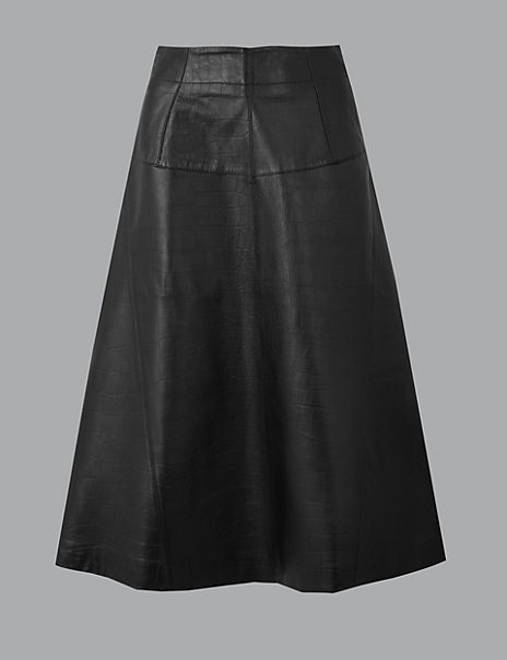 Leather Fit & Flare Midi Skirt