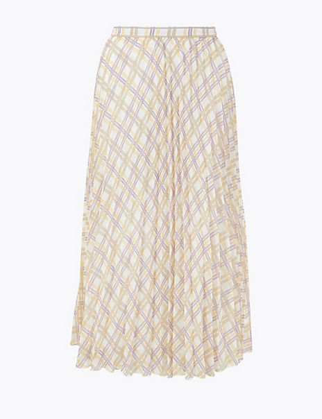 Checked Pleated Midi Skirt