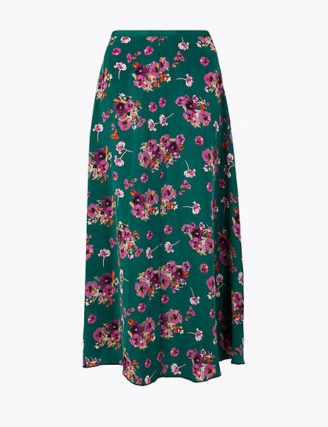 Floral Cupro Midi Skirt