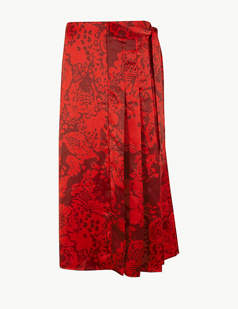 Satin Floral Pleated Midi Wrap Skirt