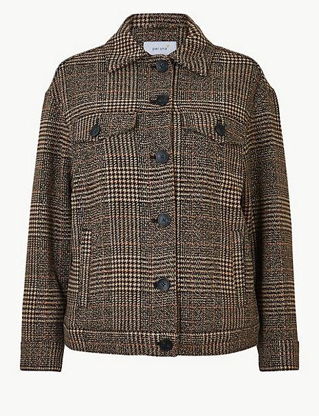 Oversized Wool Blend Checked Short Jacket