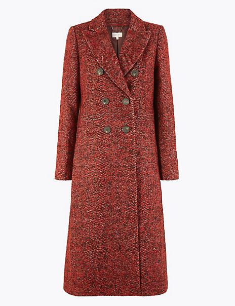 Herringbone Longline Double Breasted Coat
