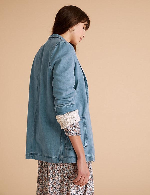 M/&S PER UNA Denim//Linen Kimono JACKET 16//18//20 Plus Size BLACK Loose Fit RRP £35