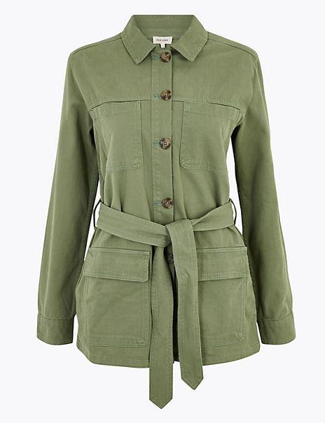 Cotton Belted Utility Jacket