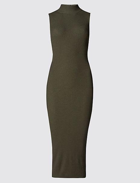 Funnel Neck Knitted Midi Dress