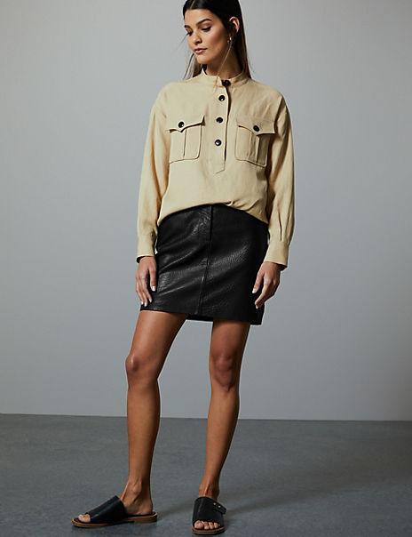 Leather Textured Mini Skirt