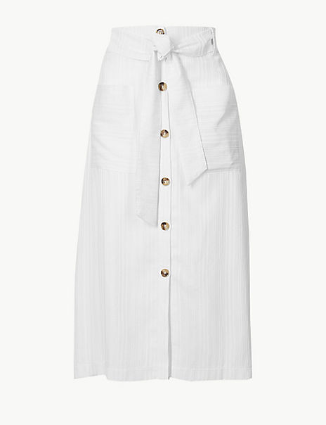 Button Detailed A-Line Midi Skirt