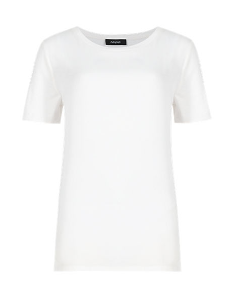 Round Neck Short Sleeve Top with Modal