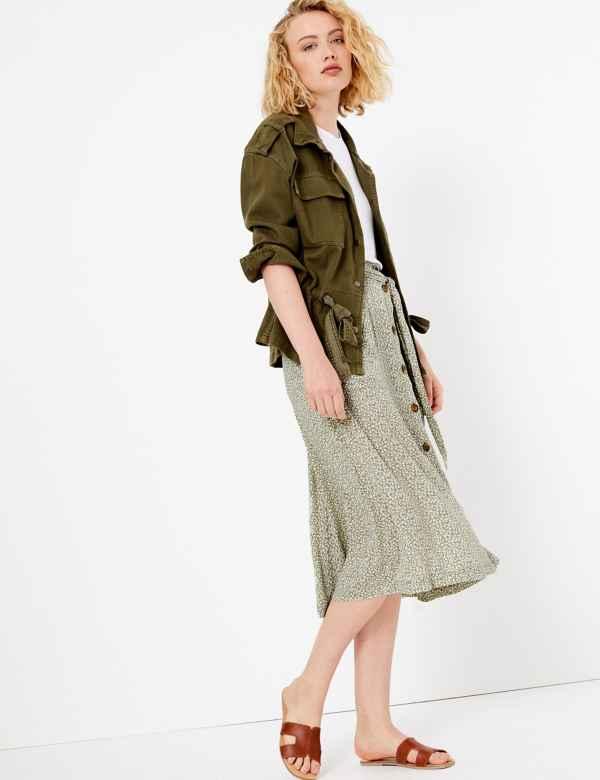 93ae7fcbc6 Ditsy Floral Tie Waist A-Line Midi Skirt