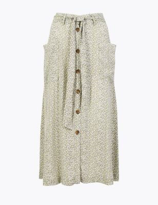 793ba7cbcb4f3 Ditsy Floral Tie Waist Midi Skirt £29.50