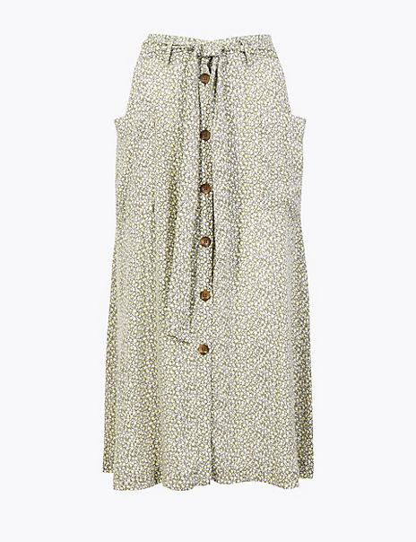 Ditsy Floral Tie Waist A-Line Midi Skirt