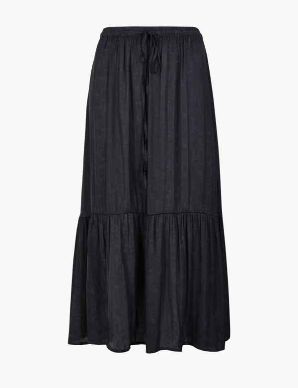 461803a4bf8f64 Satin Jacquard A Line Midi Skirt