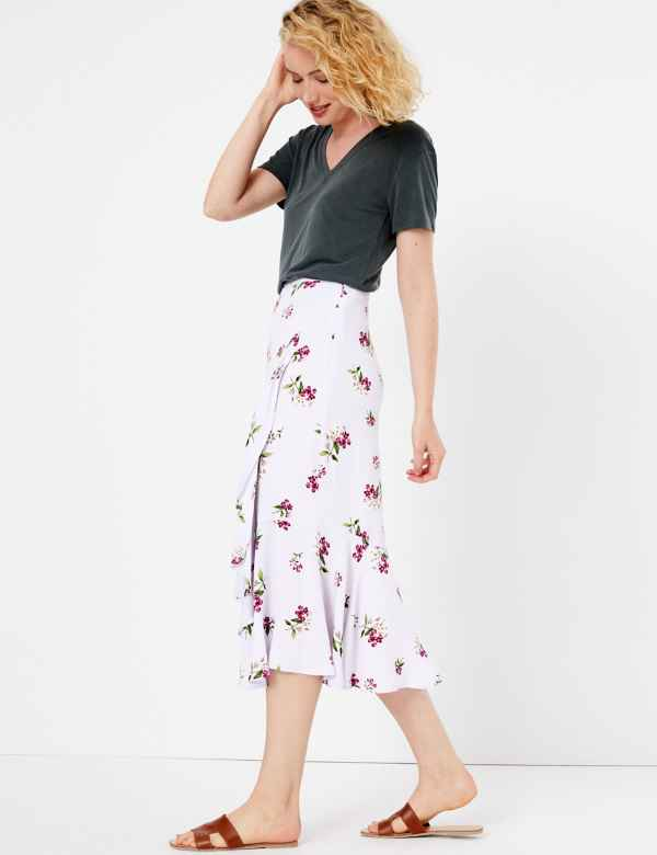 0bdfddc72b Printed Ruffle Midi Skirt. New