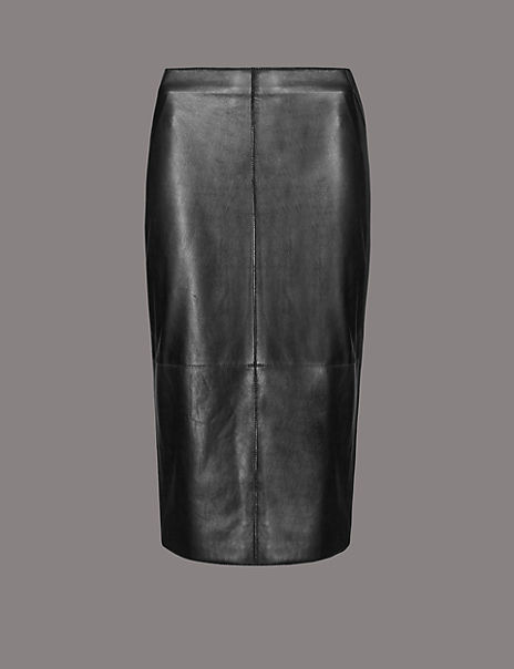 Leather Panel Detail Pencil Skirt