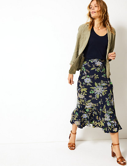 2a0039e395 Floral Print Pretty Ruffle Midi Skirt | Skirts | Marks and Spencer US