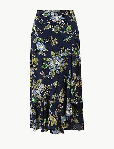 Floral Print Pretty Ruffle Midi Skirt
