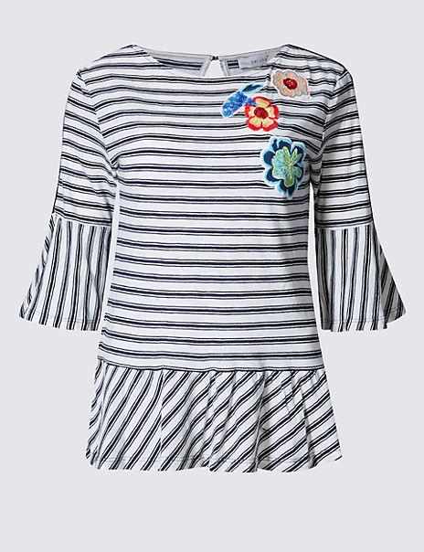 Pure Cotton Embroidered Peplum T-Shirt