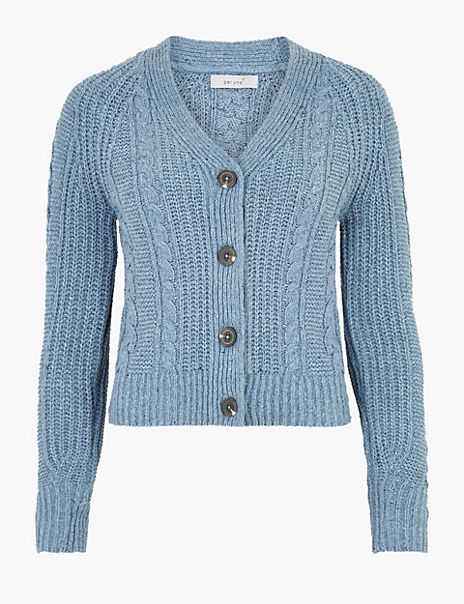 Cotton Rich Cable Knit V-Neck Cardigan