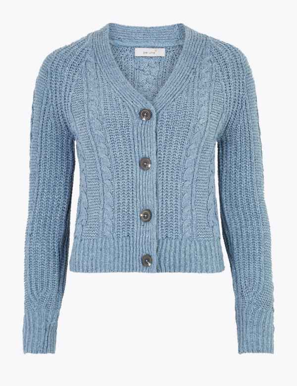 5b010f845d57 Cotton Rich Cable Knit V-Neck Cardigan