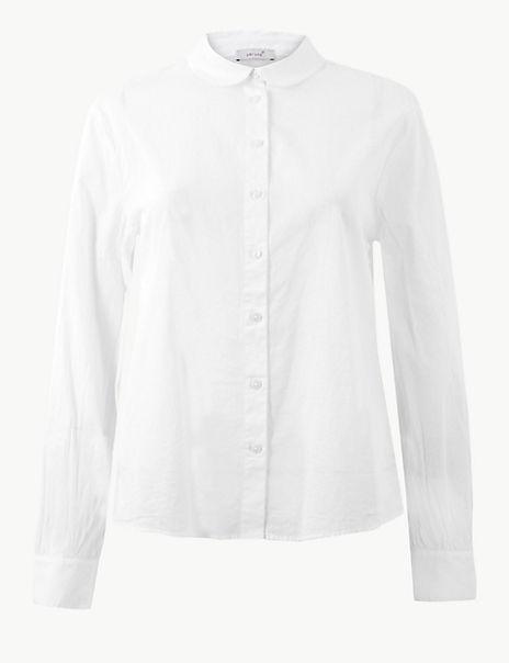 Pure Cotton Peplum Back Shirt
