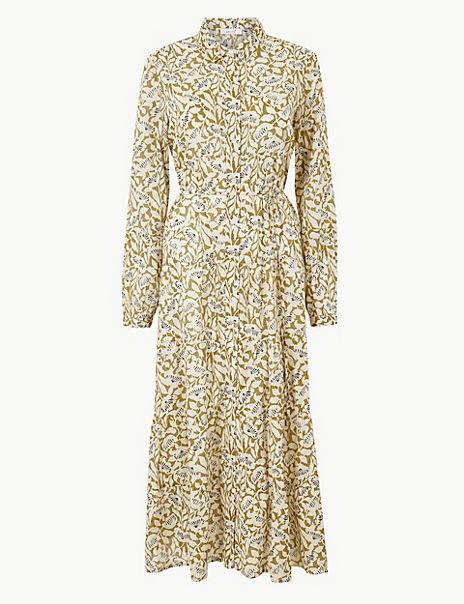 Pure Cotton Tiered Shirt Maxi Dress