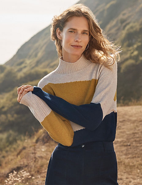 Colour Block Funnel Neck Jumper