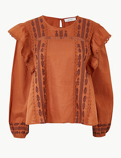 Pure Cotton Embroidered Frill Detail Blouse