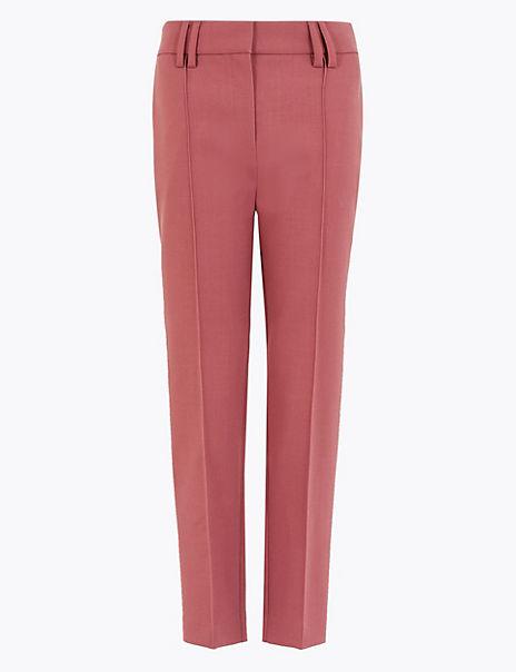 Wool Blend Slim Leg Cropped Trousers