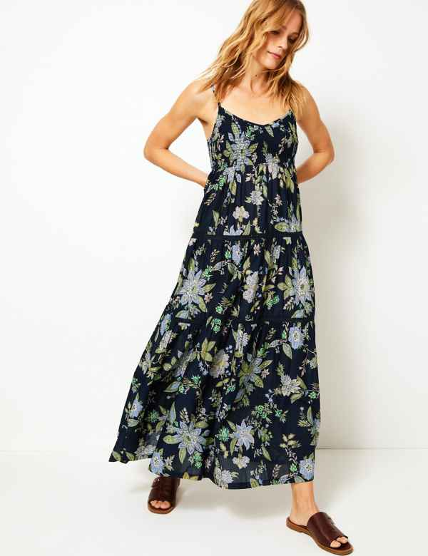 4f07ebb92a2 Pure Cotton Floral Print Midi Swing Dress