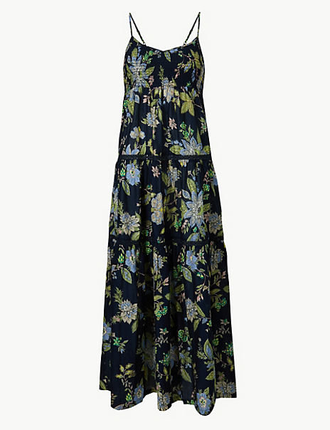 Pure Cotton Floral Print Midi Swing Dress