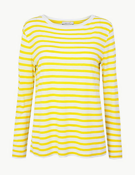 Striped Long Sleeve T-Shirt with Linen