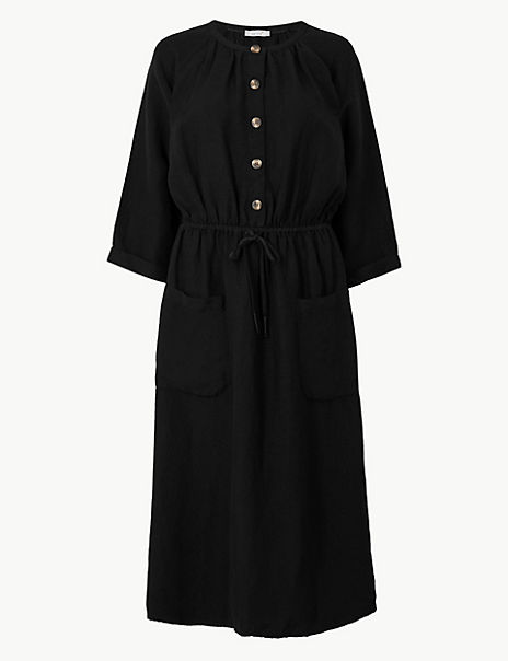 Linen Blend 3/4 Sleeve Waisted Midi Dress