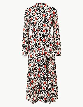 d7779ba4736b Nabírané košilové maxi šaty s nbsp květinovým potiskem