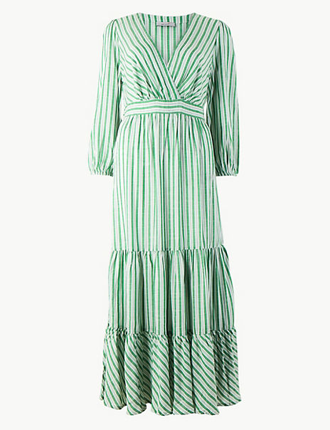 Striped Waisted Maxi Dress