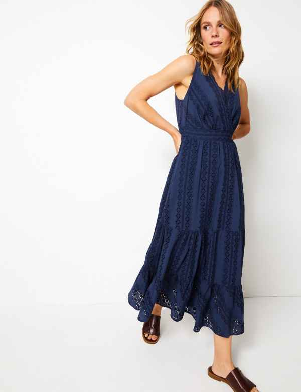 34781bf5ebc65 Pure Cotton Embroidered Waisted Maxi Dress