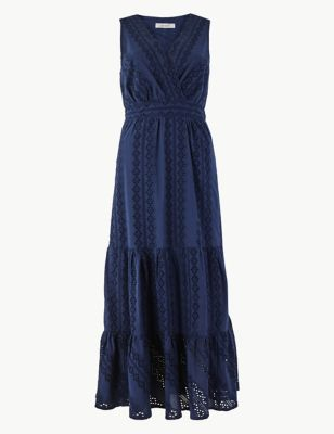 721b9353bc18 Pure Cotton Embroidered Waisted Maxi Dress £65.00