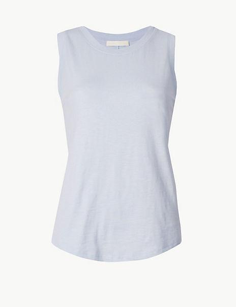 Pure Cotton Round Neck Vest Top