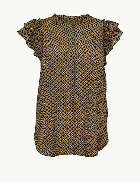 Pure Silk Printed Ruffle Sleeve Blouse