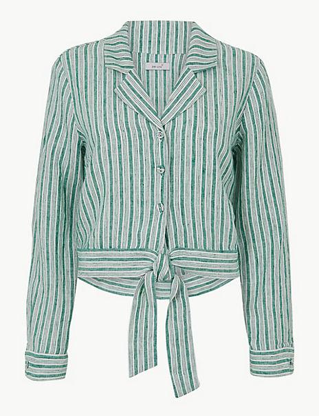Pure Linen Striped Tie Front Shirt