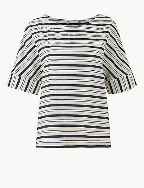 Cotton Blend Boxy Contrast Stripe T-Shirt