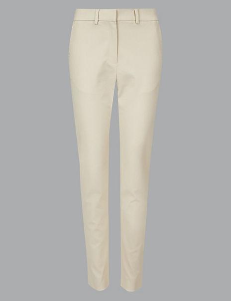 Cotton Modal Slim Leg Ankle Grazer Trousers