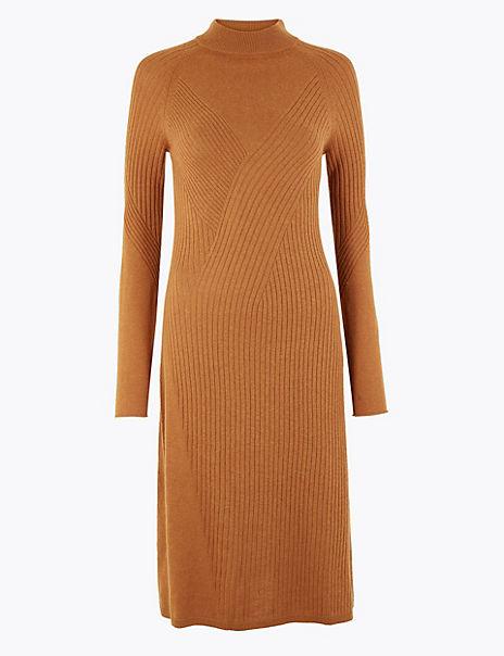 Merino Wool Rich Ribbed Shift Dress