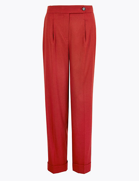 Wool Blend Herringbone Straight Trousers