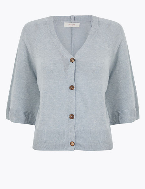Linen Ribbed V-Neck Cropped Cardigan