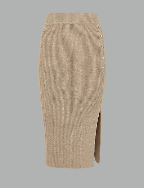 Linen Blend Textured Knitted Midi Skirt