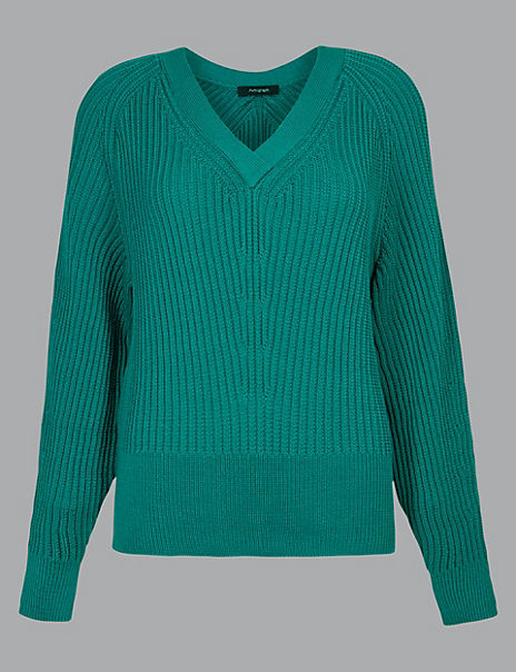 Pure Cotton Textured V-Neck Jumper