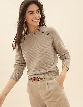 Cotton Textured Button Detail Jumper